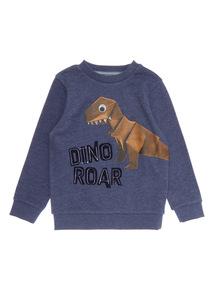 Blue Dino Roar Long Sleeve Crew Neck Sweat (9 months-6 years)