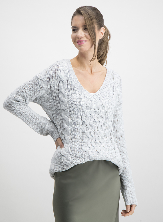 6f6668c3008 Grey Chunky Cable Knit V-Neck Jumper