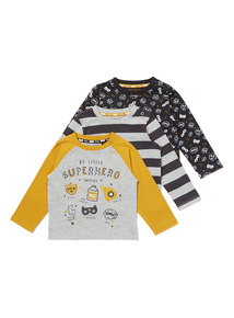 3 Pack Multicoloured Superhero Long Sleeve Tees (0-24 months)