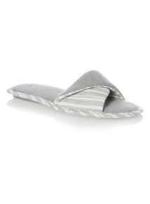 Grey Fold Over Strap Mule Slippers