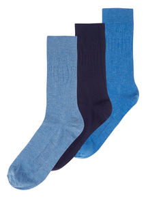 Blue Soft Grip Socks 3 Pack