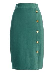 Cord Button Detail Skirt