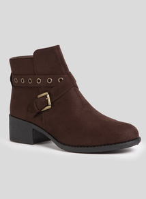 Brown Eyelet Strap Ankle Boot