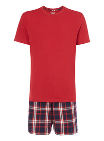Red Tee And Check Shorts Set