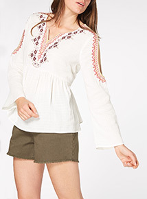 Cold Shoulder Embroidered Top