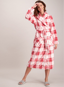 Red & Pink Check Longline Dressing Gown