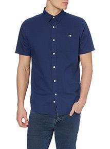 Dark Blue Linen Blend Short Sleeved Shirt