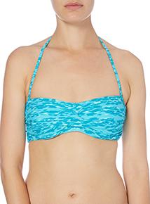 Turquoise Animal Print Twist Bandeau Bikini Top