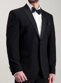 Black Two Button Tailored Fit Tuxedo Dinner Suit Jacket