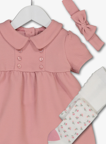 Pink Ponte Textured Dress, Headband & Tights Set (0-24 months)