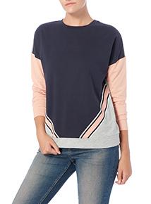 Navy Colour Block Chevron Sweater
