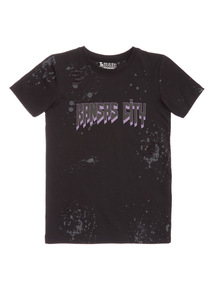 Black Short Sleeve Nibbled Tee (3-14 years)