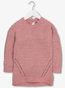 Pink Chenille Glitter Thread Dress (3-14 Years)