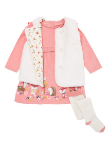 3 Piece Pink Embroidered Dress Set (0-24 months)