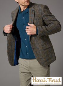 Harris Tweed Brown And Blue Check Jacket