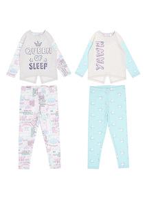 Multicoloured Queen Of Sleep Pyjamas 2 Pack (4 - 13 years)