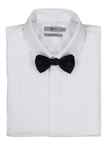 White Tailored Fit Dress Shirt & Black Bow Tie Set