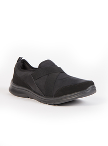 Sole Comfort Black Crossover Strap Trainers