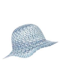Blue Straw Floppy Hat (1-13 years)