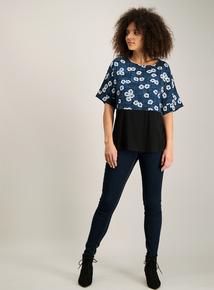 Teal & Black Floral Woven Short-Sleeved Top
