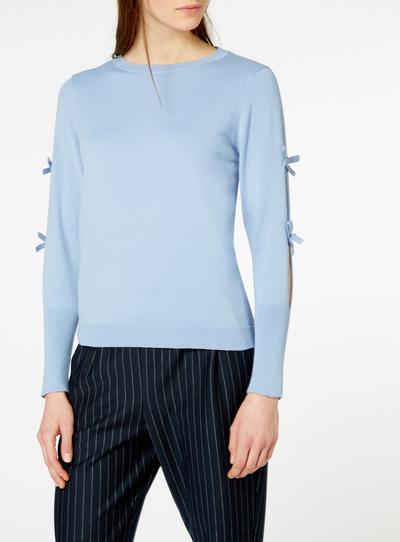 Pale Blue Bow Sleeve Jumper
