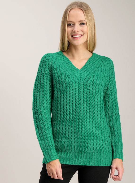 Womens Green Cable Knit V Neck Jumper Tu Clothing