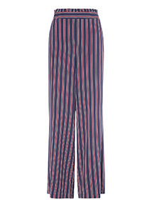 Navy Striped Wide Leg Trousers
