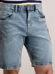 Blue Light Wash Slim Fit Stretch Denim Shorts