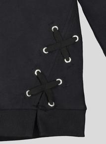Black Cross Stitch Detail Long Sleeve Sweater (3- 14 Years)