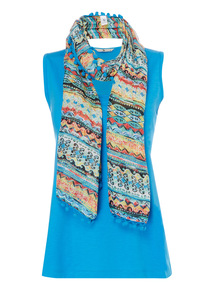 Blue Plain Vest With Scarf