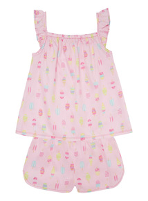 Mix and Match Pink Ice Cream Woven PJ Set (18 months - 12 years)