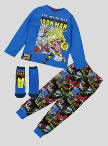 Marvel Iron Man Multicoloured Pyjamas & Socks (3-12 Years)