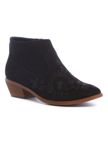 Black Embroidered Ankle Boot