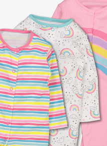 Multicoloured Rainbow Sleepsuits (0-24 months)