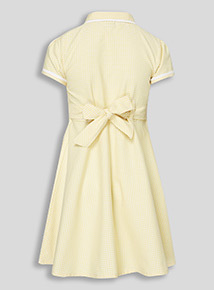 Yellow Classic Gingham Dress with Revere Collar (3-12 years)