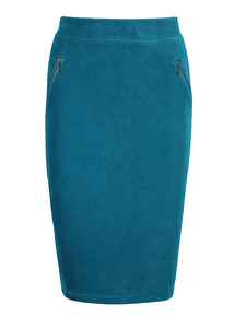 Green Jersey Cord Pencil Skirt