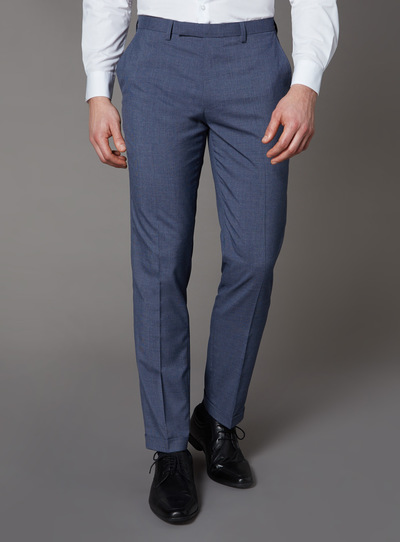 Blue Textured Tailored Fit Trousers With Stretch