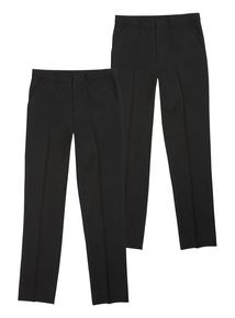 Boys Black Longer Leg Trousers 2 Pack (10-16 years)