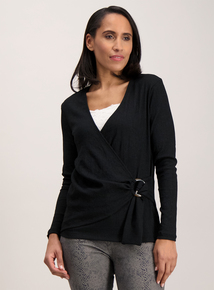 Black Textured Wrap Front Top