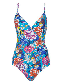 Multicoloured Oriental Wrap Swimsuit