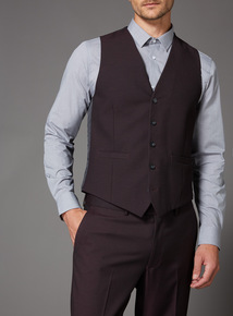 Online Exclusive Burgundy Stretch Slim fit Suit Waistcoat