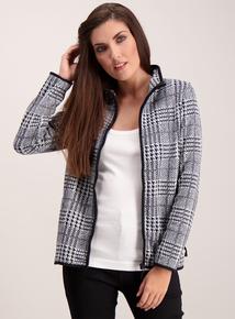 Grey Dogtooth Check Zip Through Fleece