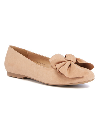 Beige Bow Slipper Cut Shoes