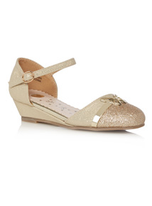 Girls Gold Butterfly Wedge Sandals