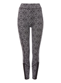 Black Mono Dot Pattern Active Leggings