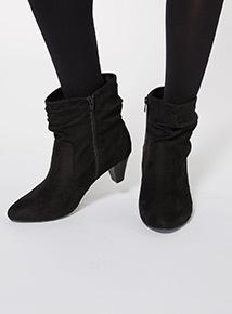 Black Cone Heel Boots