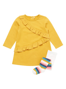 Yellow Sweat Dress and Tights Set (0-24 months)