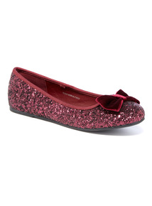 Glitter Bow Ballerina Pumps