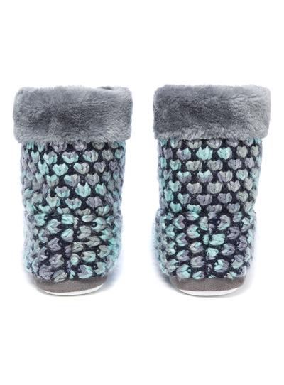 Blue Knitted Ski Boot Slipper