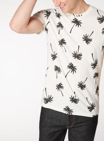 White Palm Tree Print T-Shirt